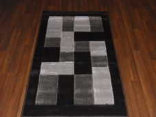 Modern New Rug Approx 5x2ft6 80x150cm Woven Thick best around ,Blocks Black/Grey